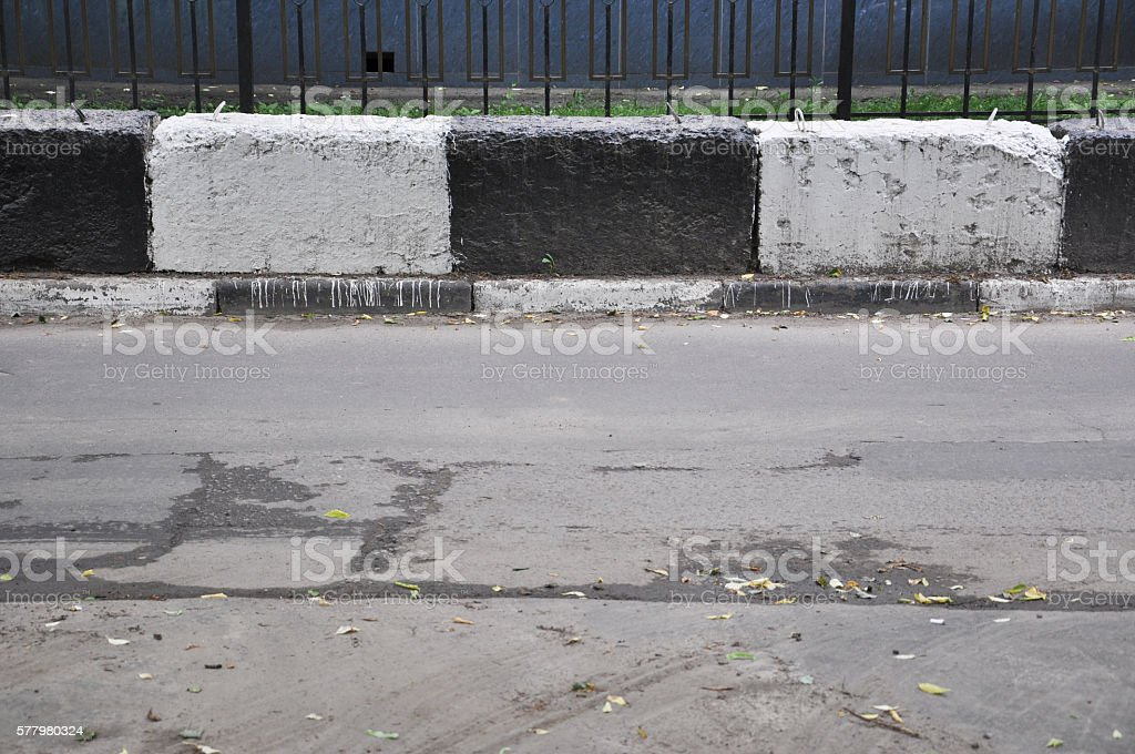 checkpoint restrictive blocks stock photo