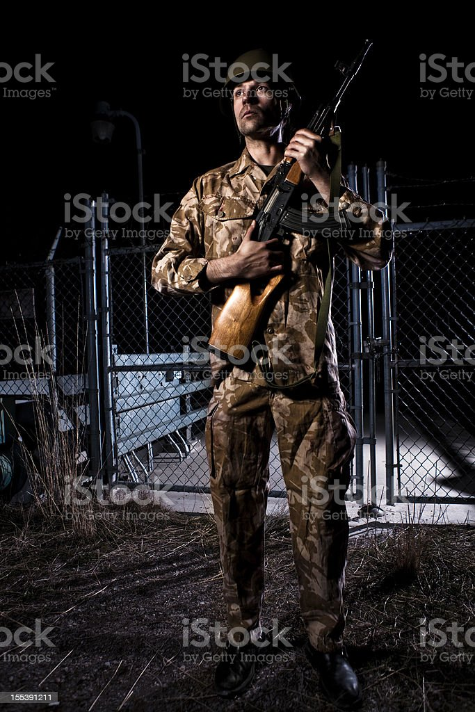 Checkpoint Soldier royalty-free stock photo