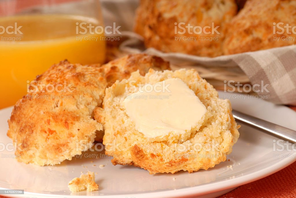 Cheddar Cheese biscuits with butter royalty-free stock photo