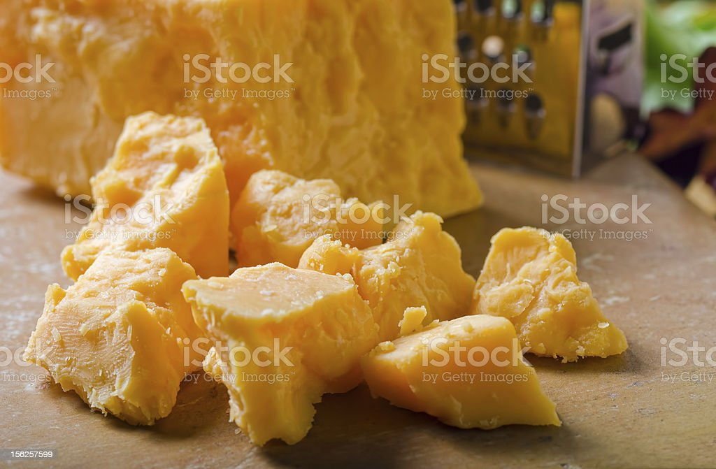 Cheddar cheese chunks. stock photo