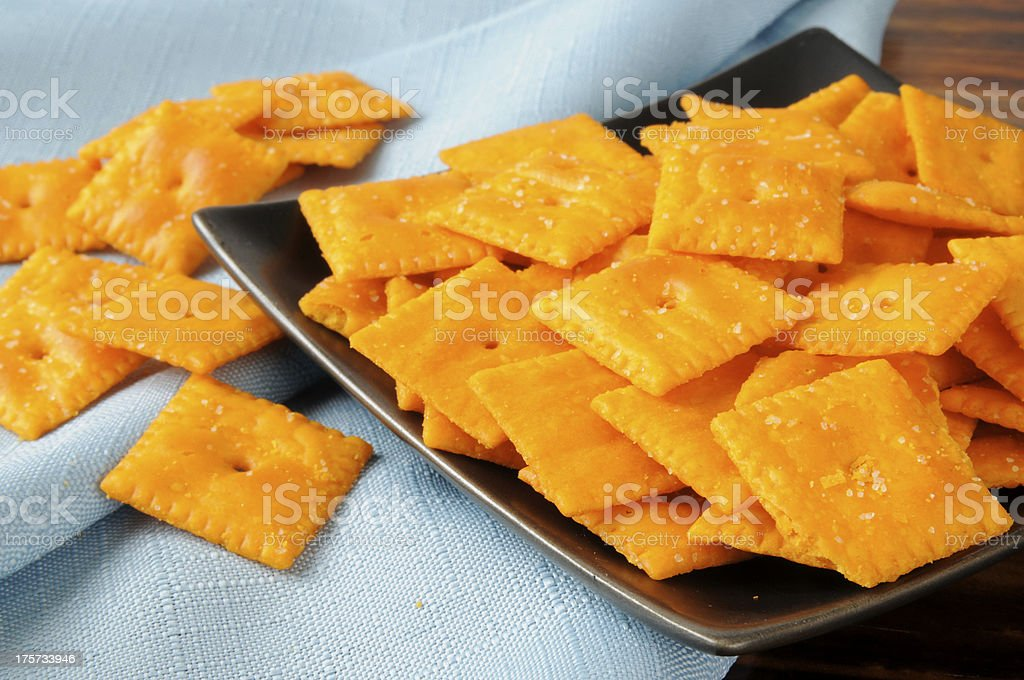 Cheddar cheese crackers stock photo