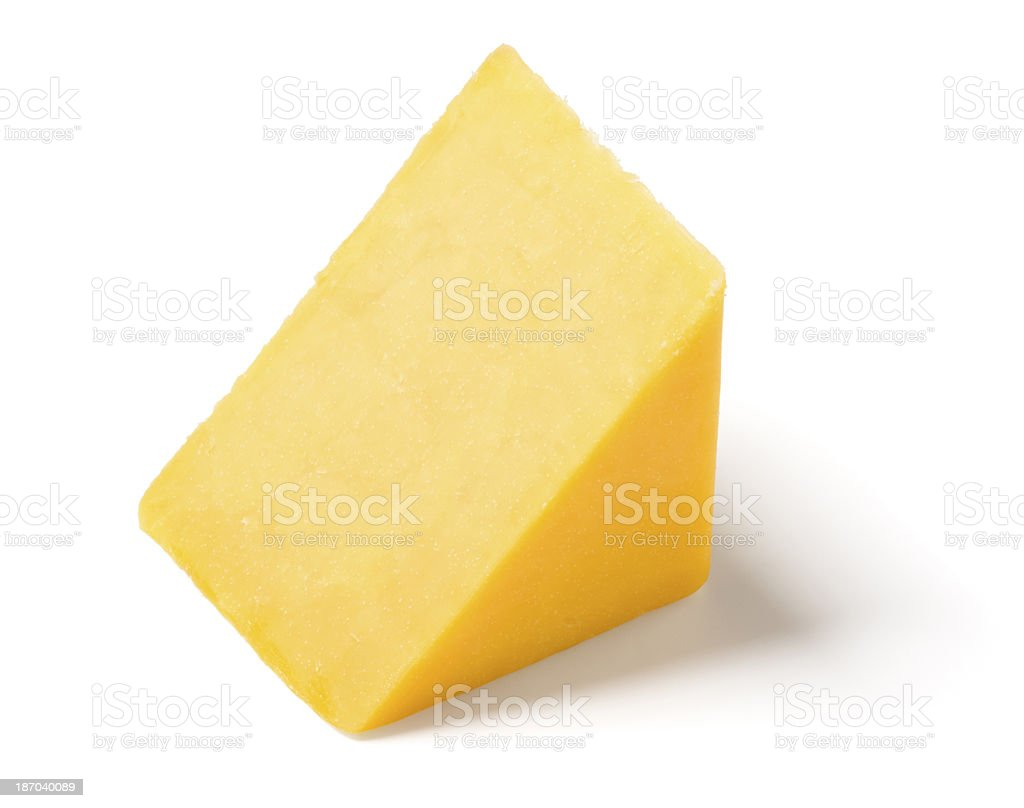 Cheddar Cheese Wedge on White Background stock photo