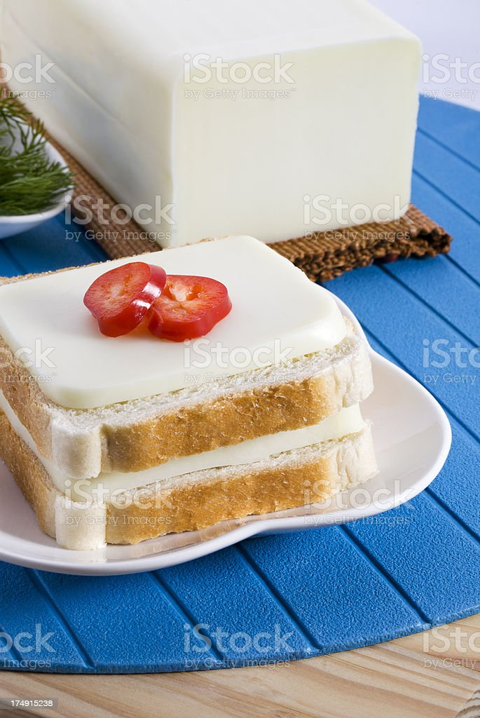 cheddar cheese with toast bread royalty-free stock photo