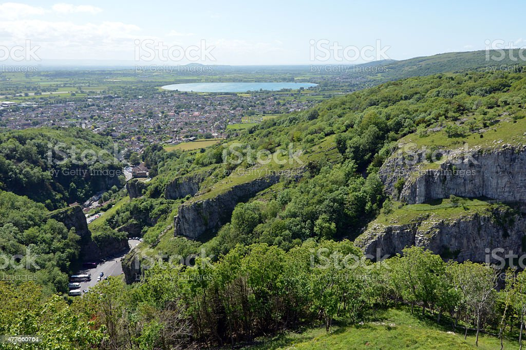 Cheddar Gorge and town stock photo