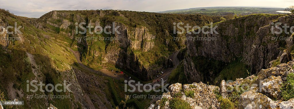 Cheddar Gorge Panorama stock photo