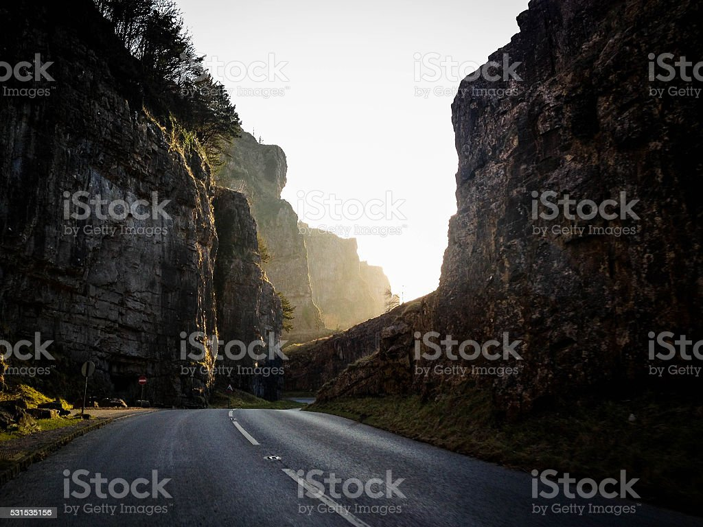 Cheddar gorge road somerset England stock photo