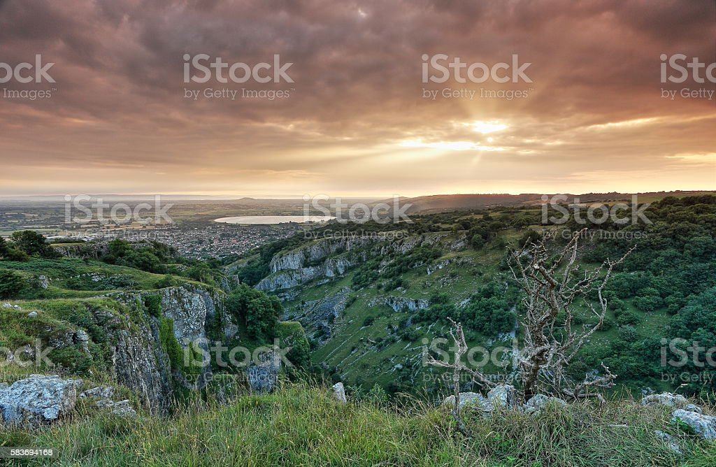 Cheddar Gorge - Sunset stock photo