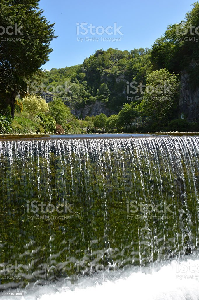 Cheddar Gorge waterfall detail stock photo