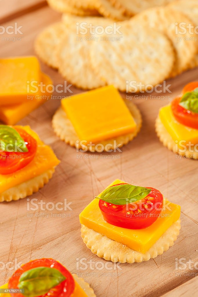 Chedder Cheese and Cracker Appetizer royalty-free stock photo