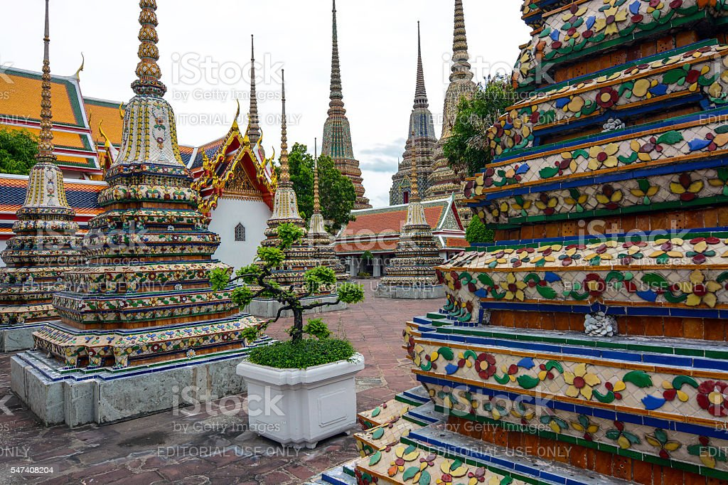 Chedis containing ashes of royal families at Wat Pho stock photo