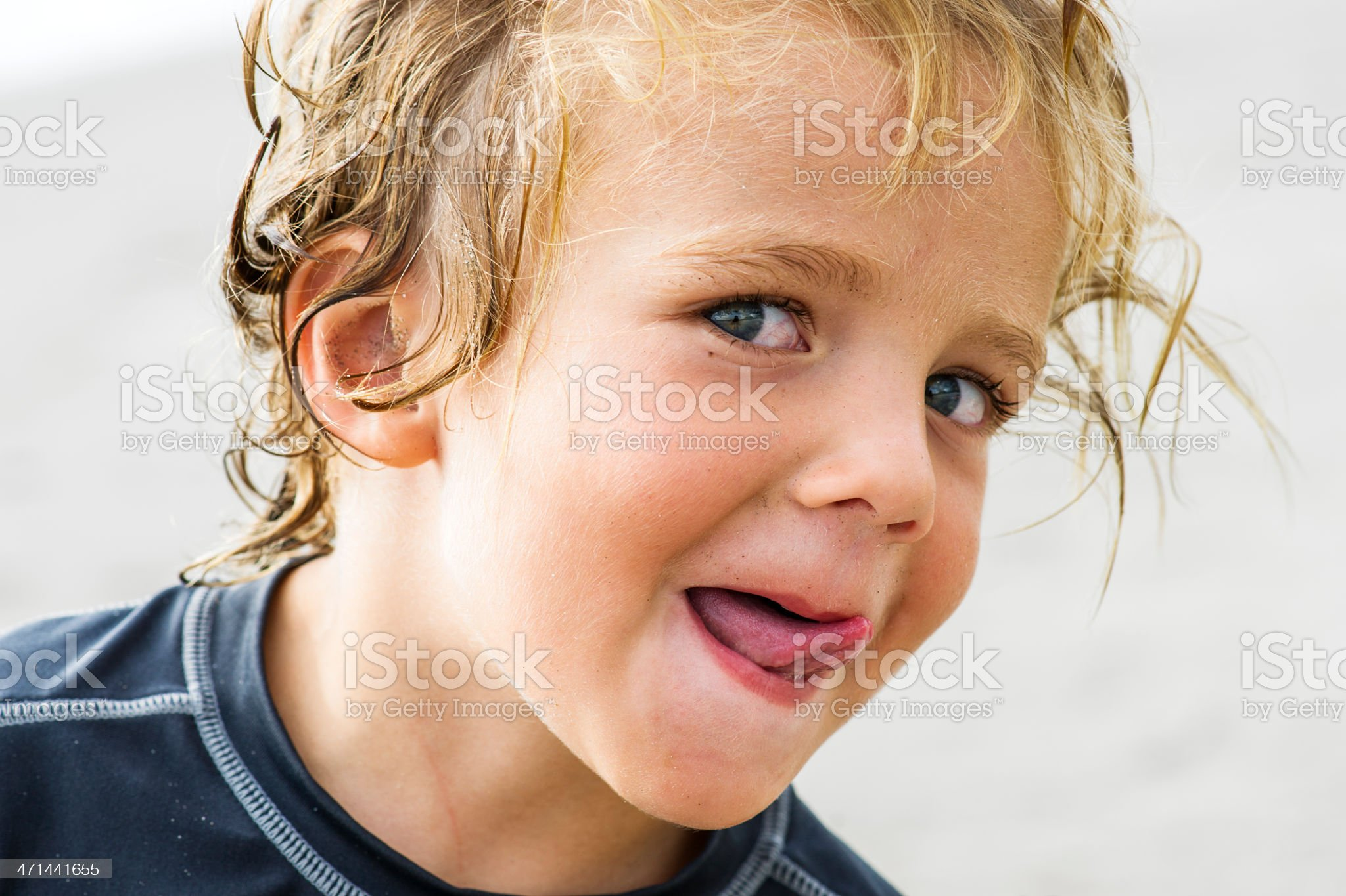 Cheeky boy on the beach royalty-free stock photo