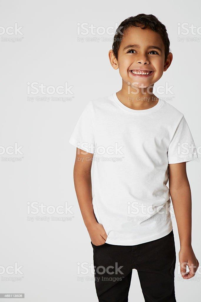 Cheeky boy, smiling stock photo
