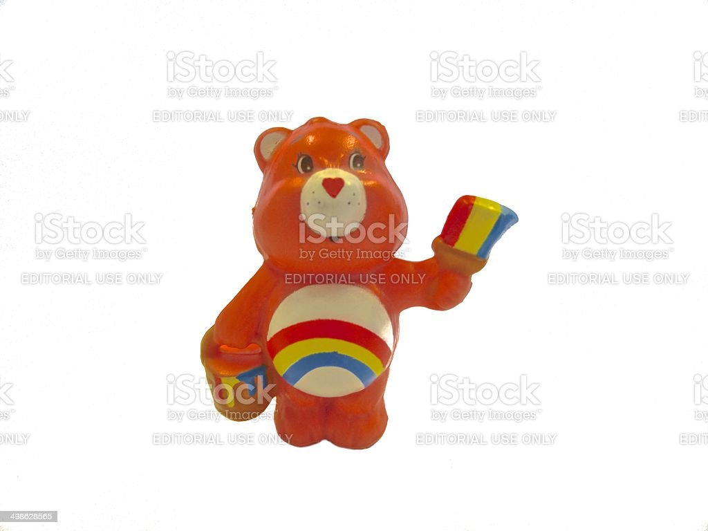 Cheer Bear (Care Bears) figurine on a white background royalty-free stock photo