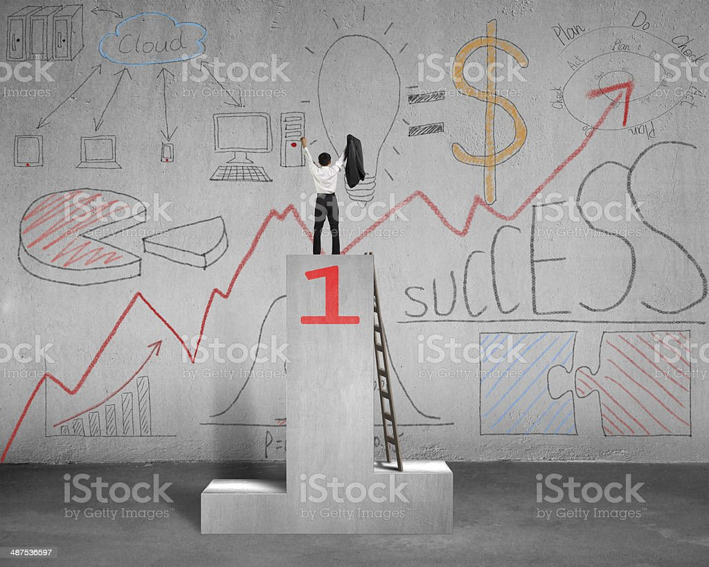 Cheered on podium with business doodles stock photo