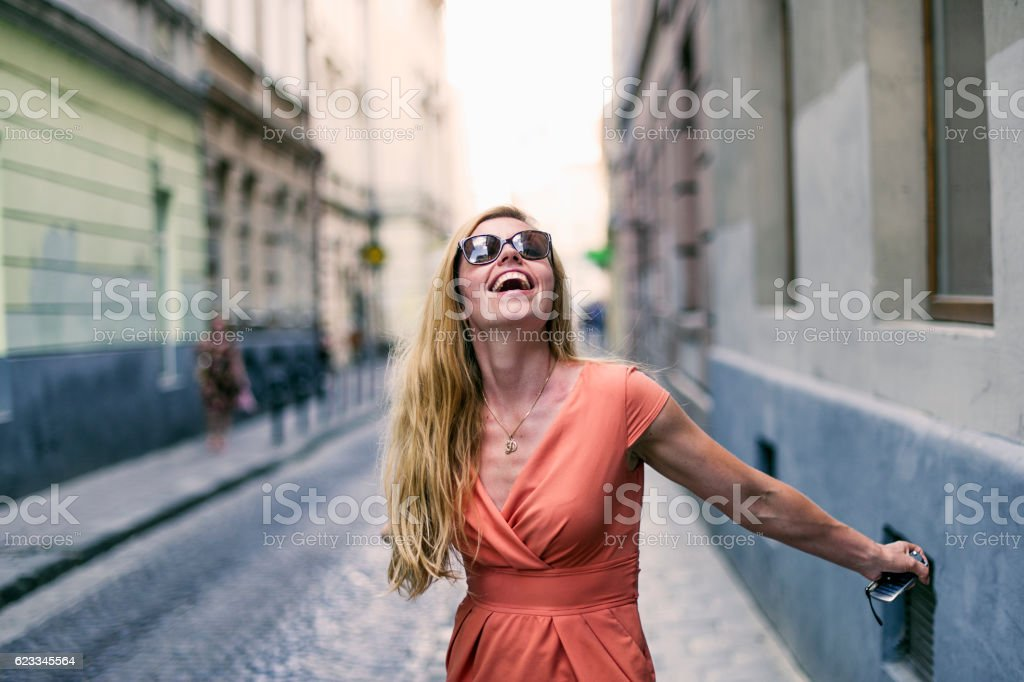 Cheerful Adult Woman Portait in The street stock photo