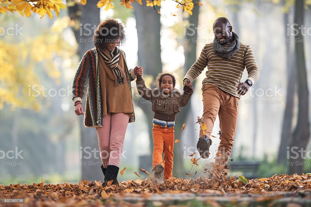 Cheerful African American family walking through leaves in autumn park. stock photo