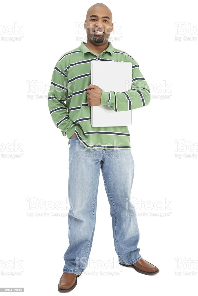 Cheerful African American Man Holding Laptop royalty-free stock photo