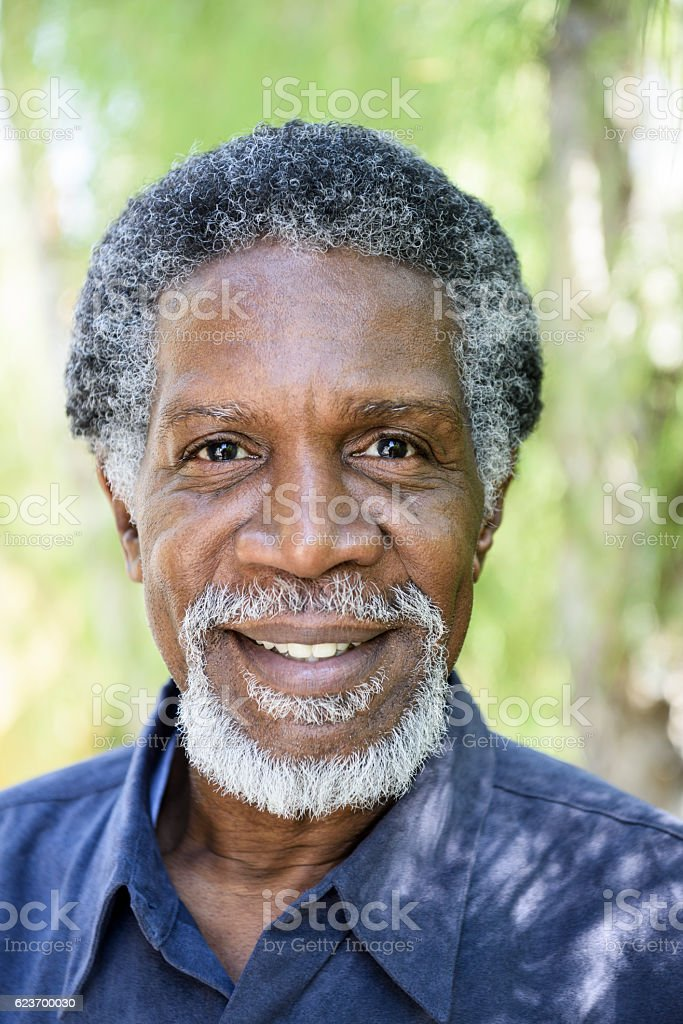 Cheerful African American man with grey hair, smiling stock photo