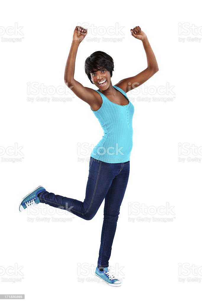 Cheerful African American woman - Isolated royalty-free stock photo