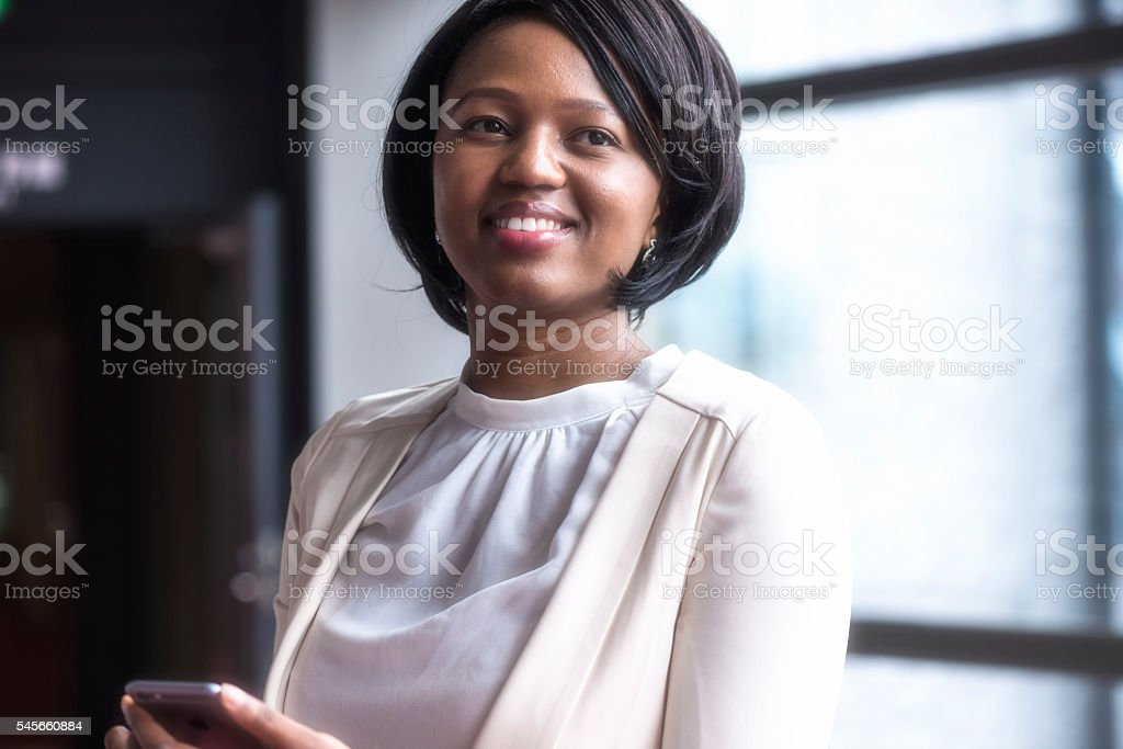 Cheerful Afro american businesswoman stock photo