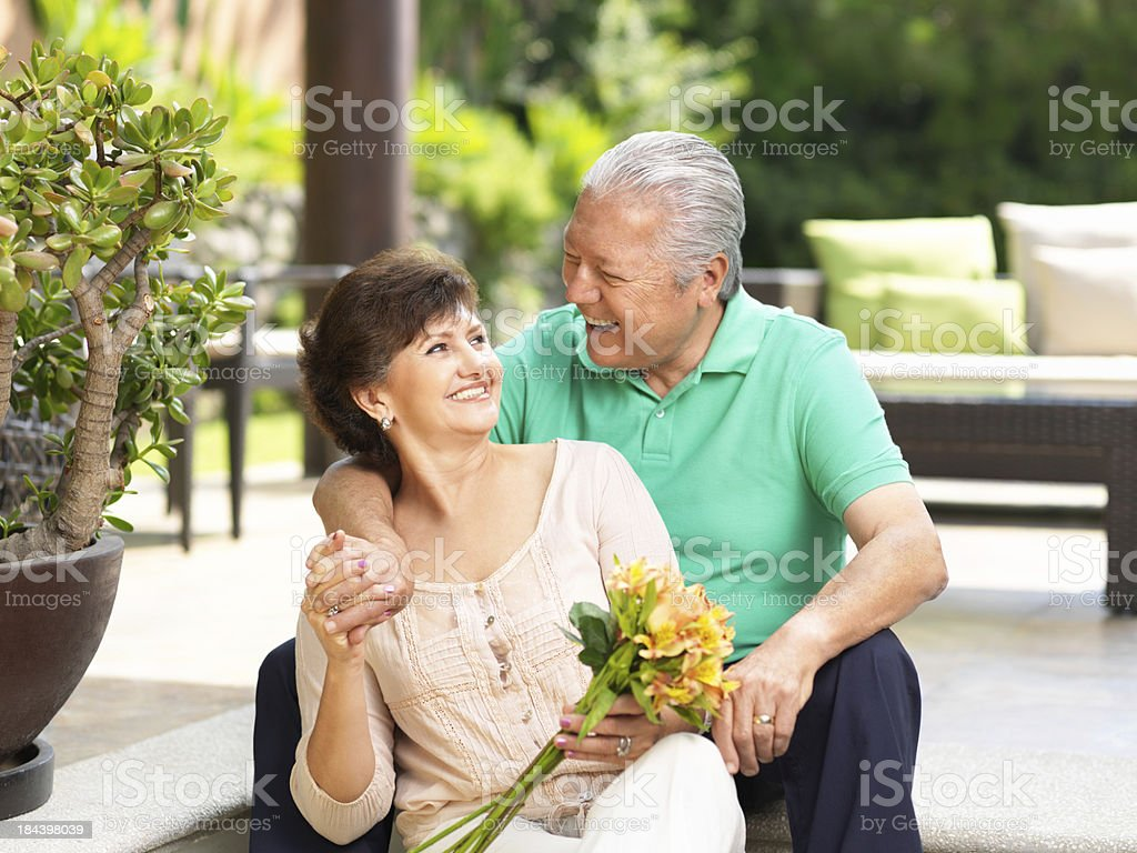 Cheerful and loving senior couple royalty-free stock photo