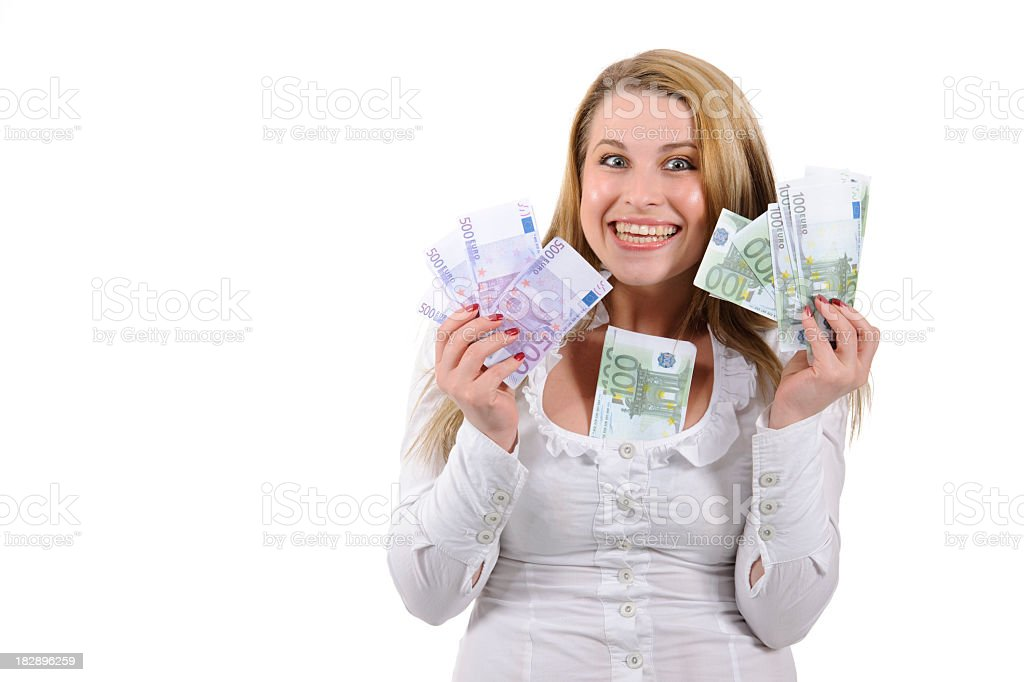 cheerful and rich woman stock photo