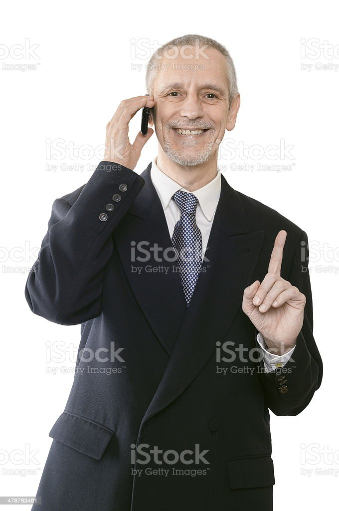 Cheerful and Smiling Businessman on Phone stock photo