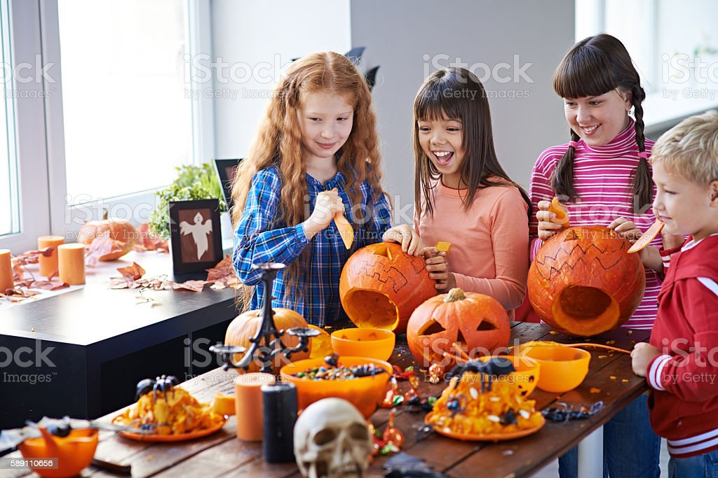 Cheerful and spooky Halloween preparation stock photo