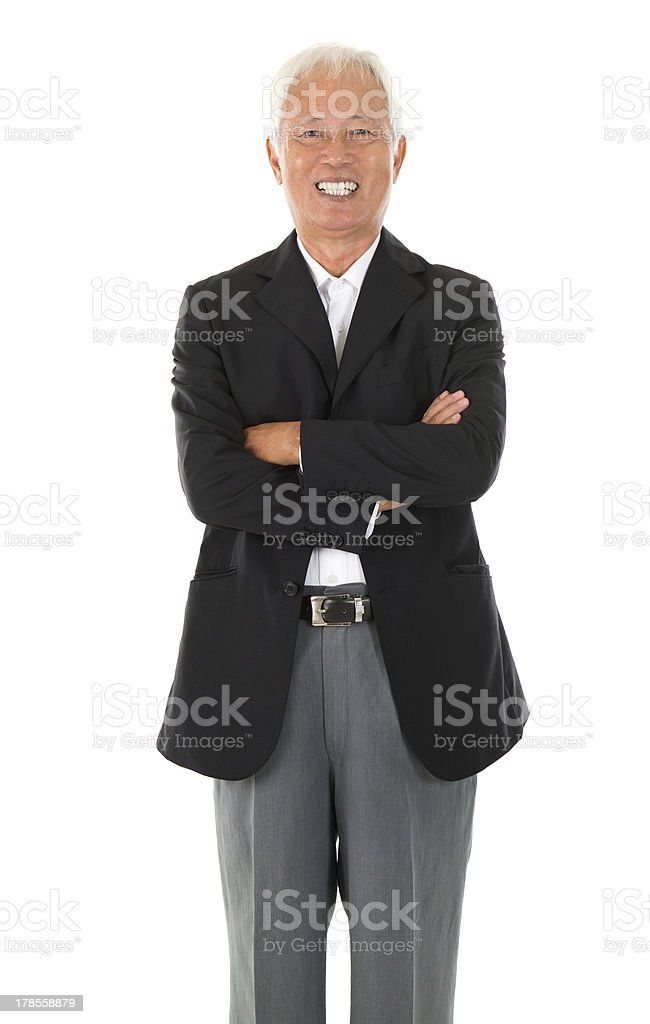 Cheerful Asian senior businessman royalty-free stock photo
