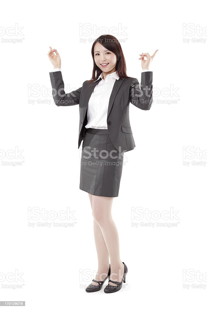 Cheerful Attractive Businesswoman Pointing Up on White Background royalty-free stock photo