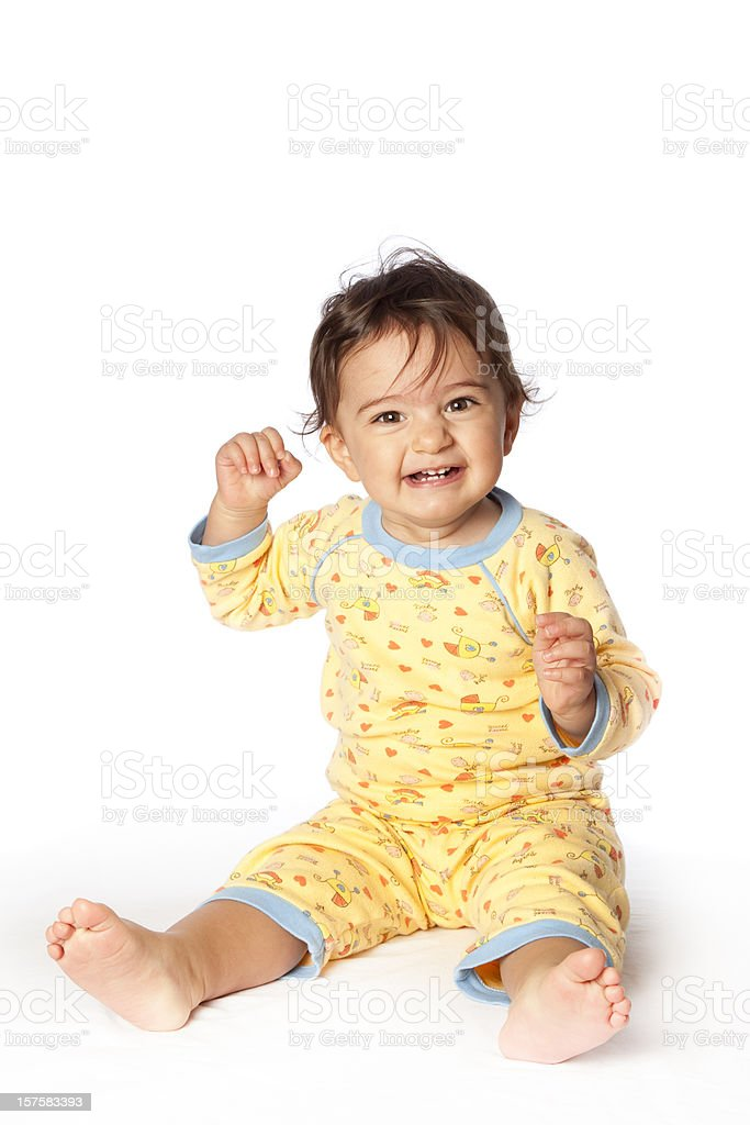 Cheerful baby laughing giggling stock photo