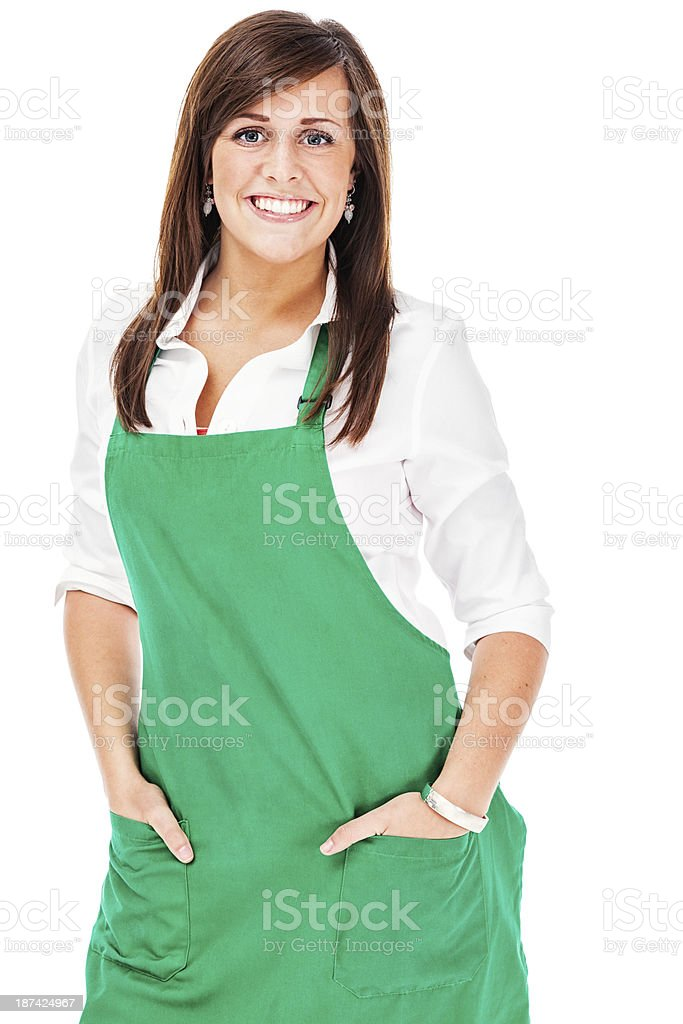 Cheerful Barista in Green Apron royalty-free stock photo