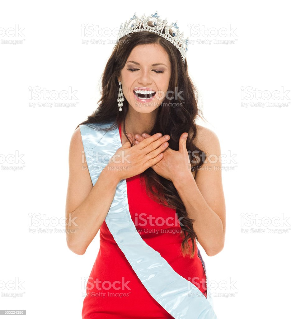 Cheerful beauty queen laughing stock photo
