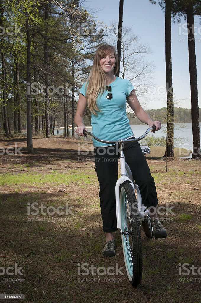 Cheerful Bicycle Woman royalty-free stock photo