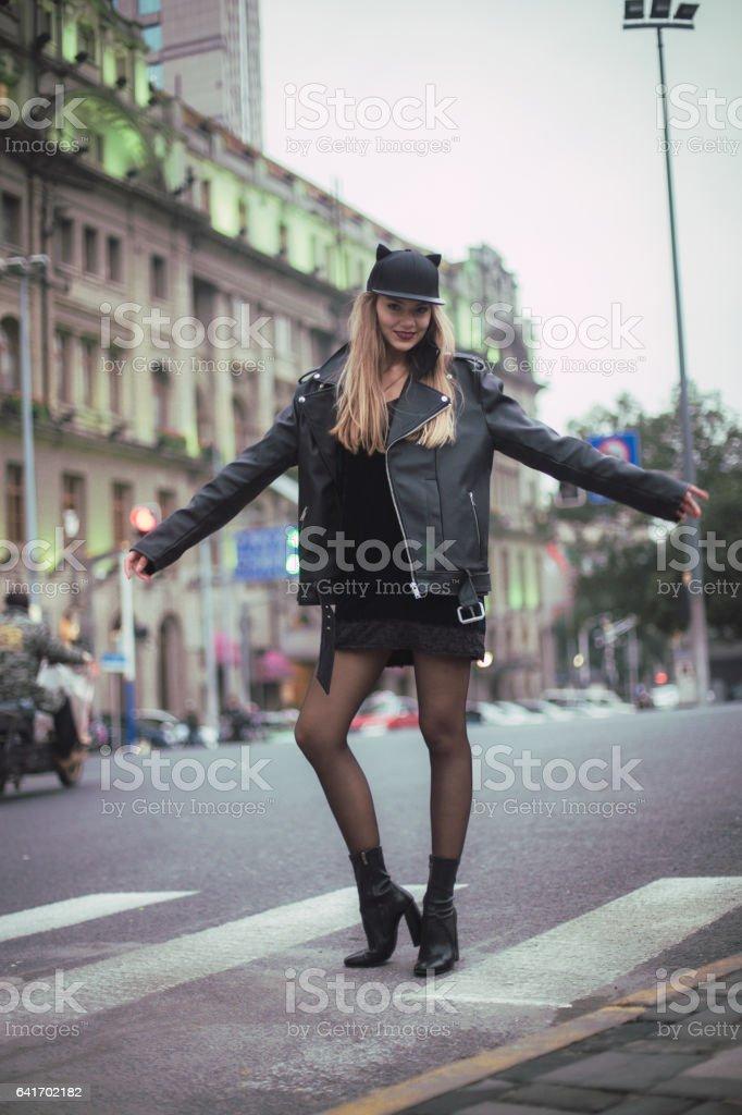 Cheerful blonde girl stock photo