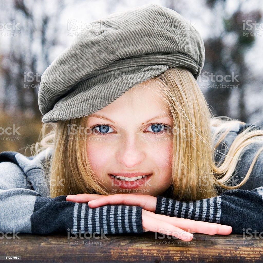 Cheerful blonde stock photo