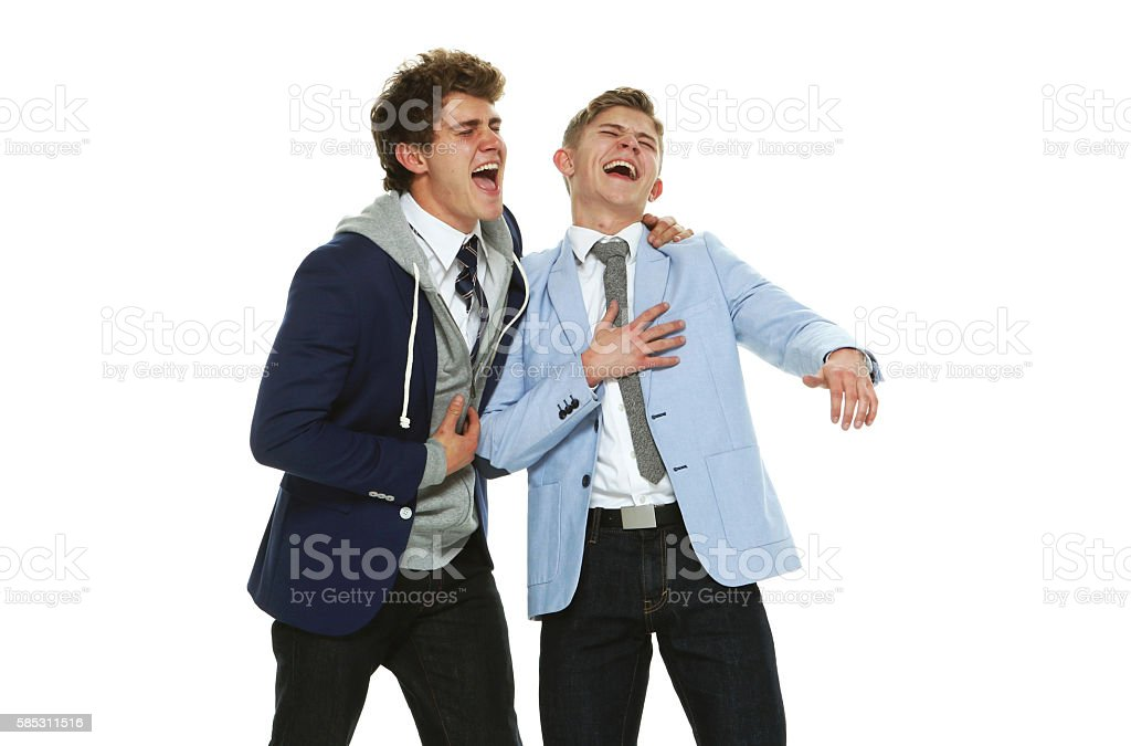 Cheerful brothers laughing stock photo
