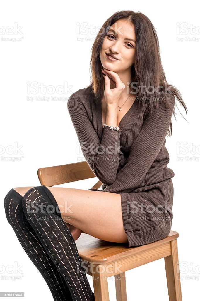 Cheerful brunette girl hammin stock photo