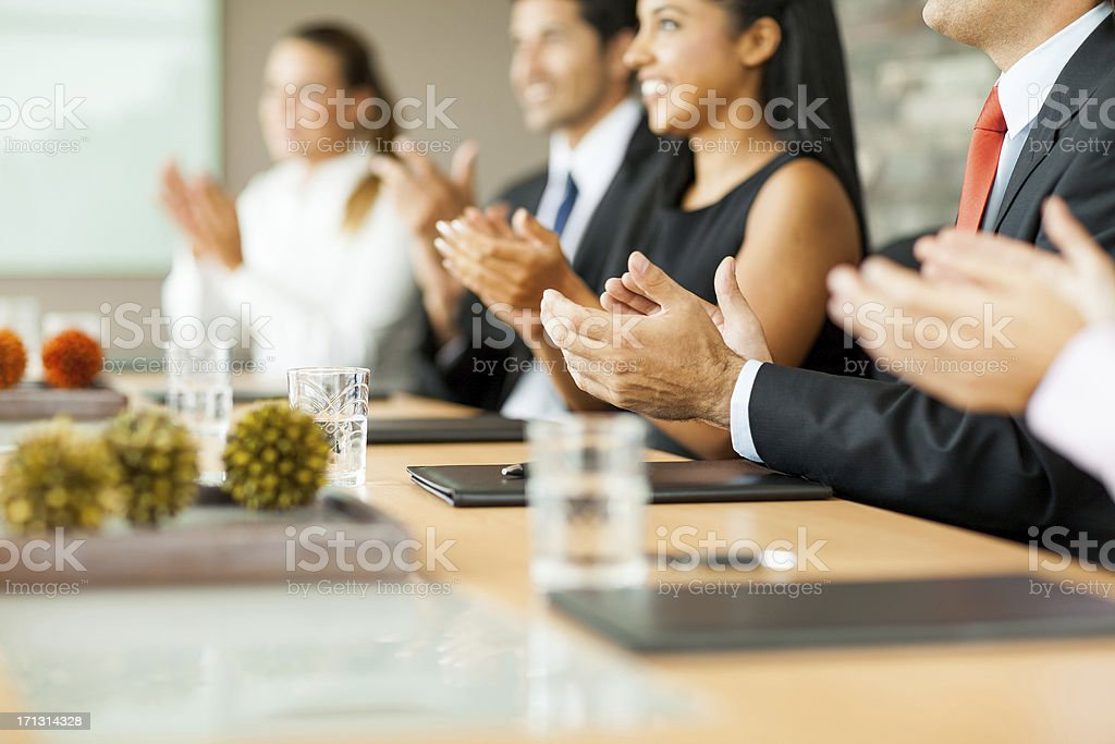 Cheerful business people clapping royalty-free stock photo