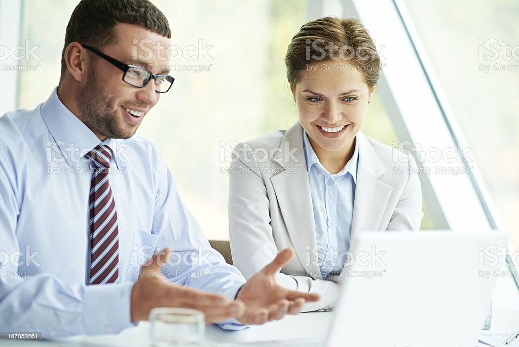 Cheerful business planning royalty-free stock photo