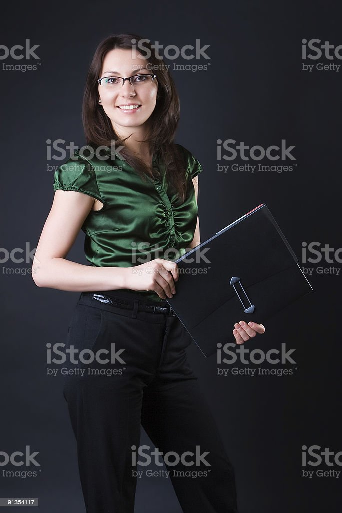 Cheerful business woman royalty-free stock photo