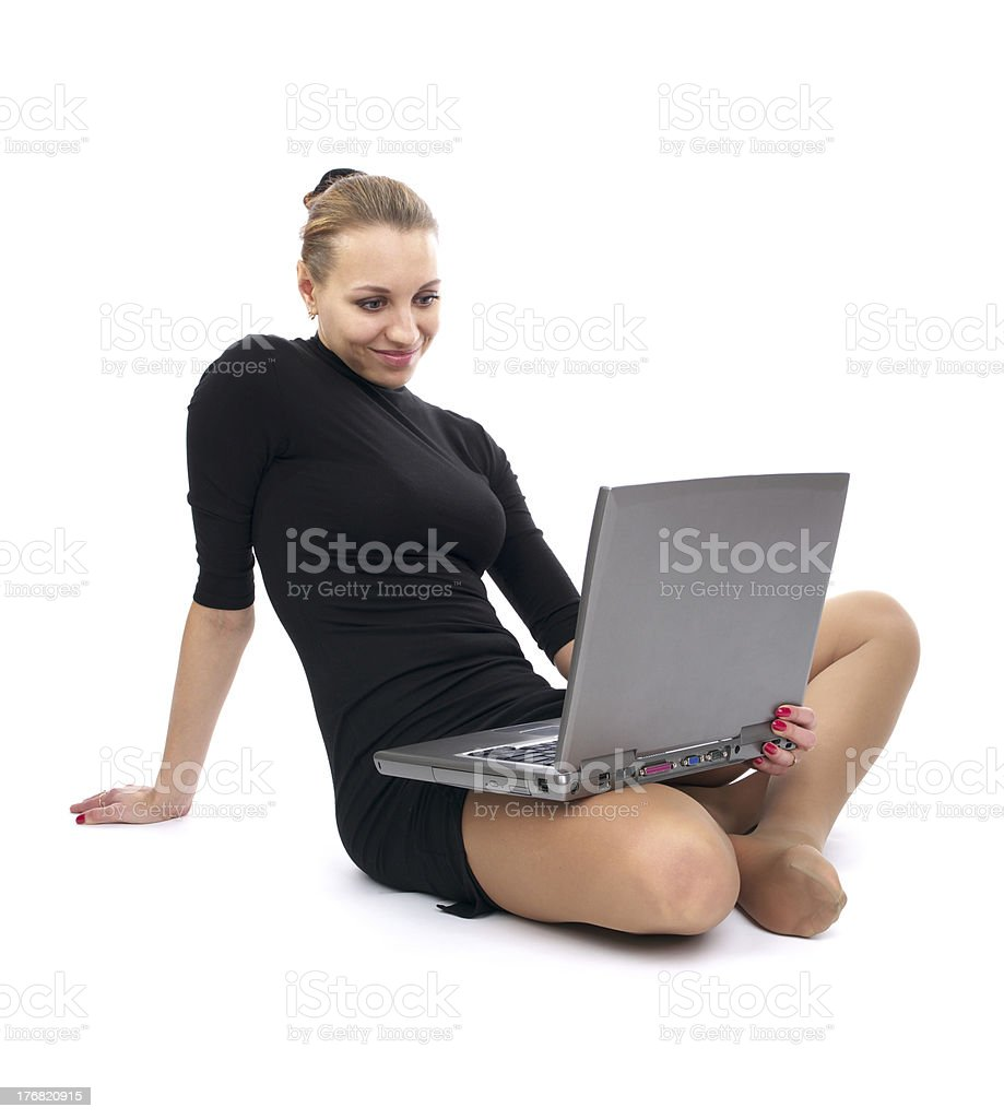 Cheerful business woman with laptop royalty-free stock photo