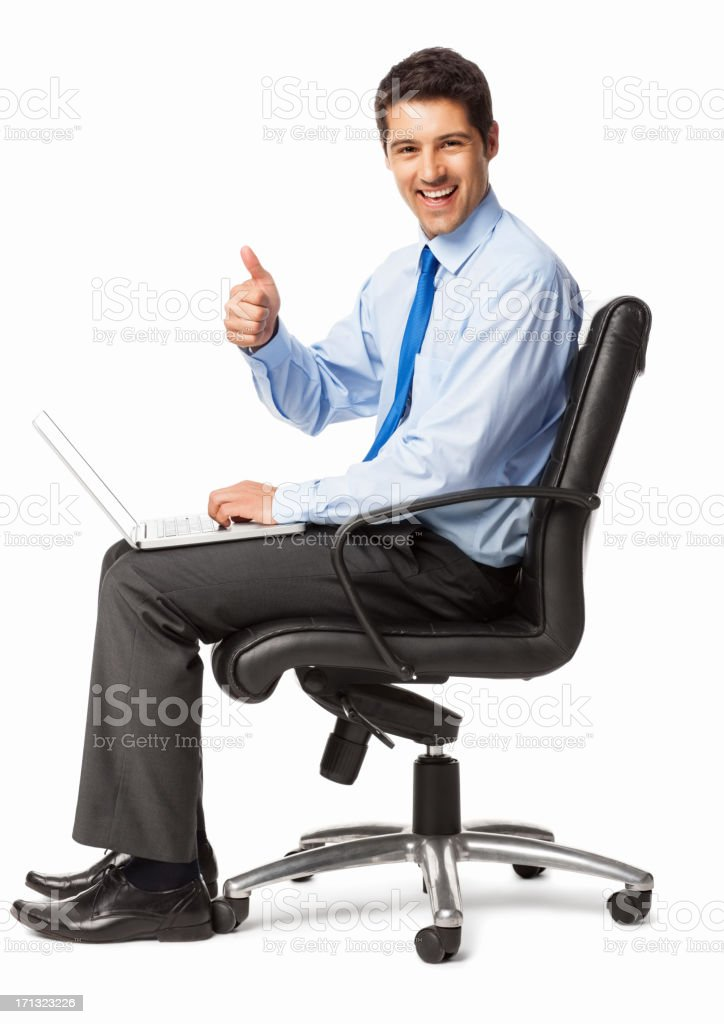 Cheerful Businessman Gesturing Thumbs Up - Isolated royalty-free stock photo