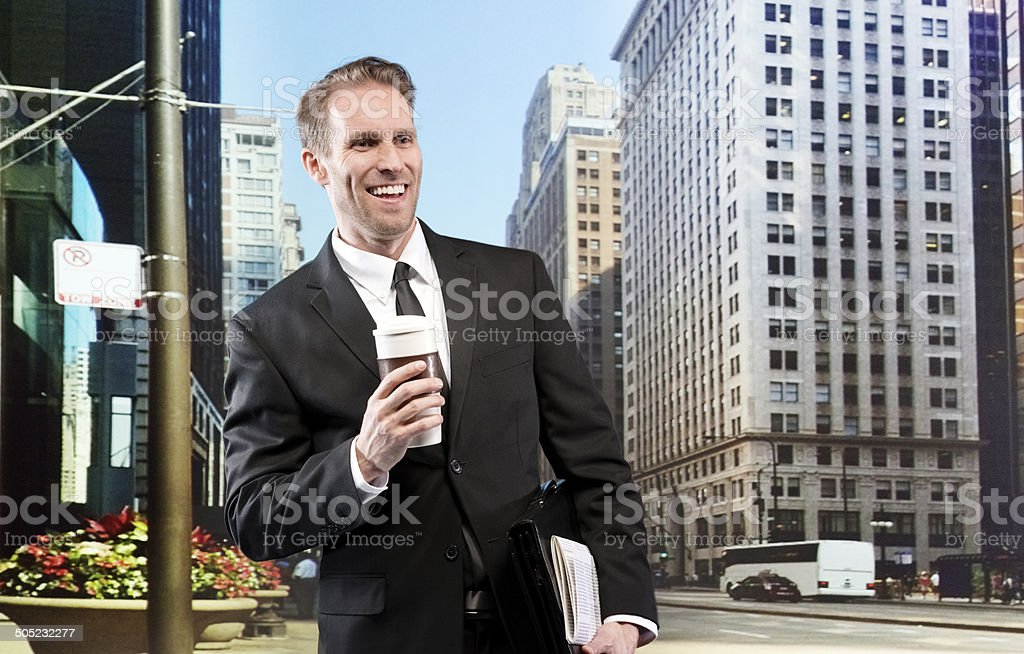 Cheerful businessman looking away royalty-free stock photo