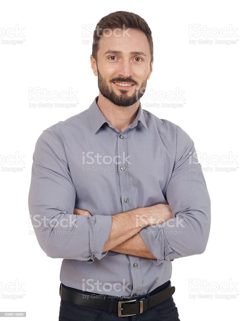 Cheerful businessman stock photo