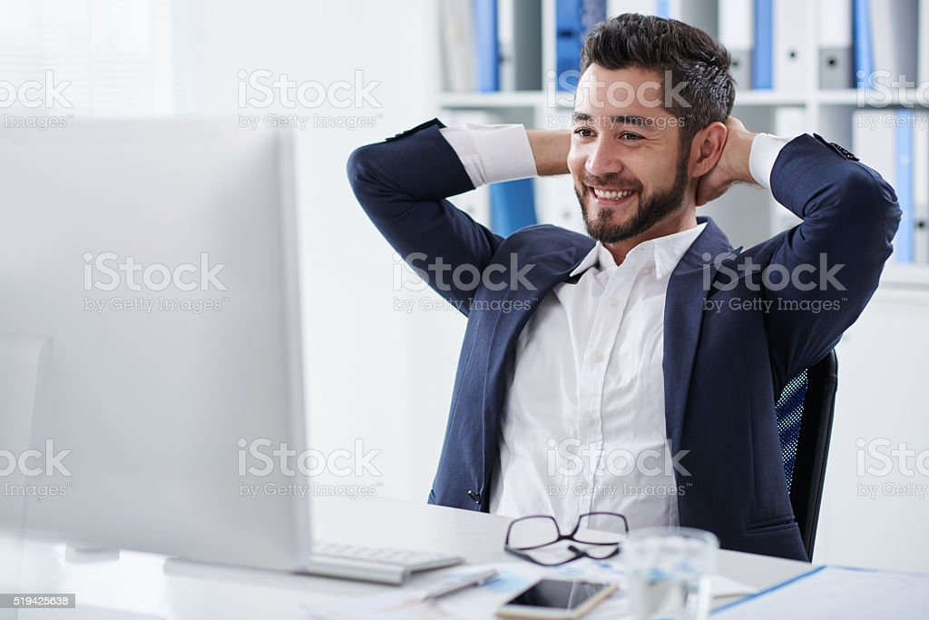 Cheerful businessman stock photo