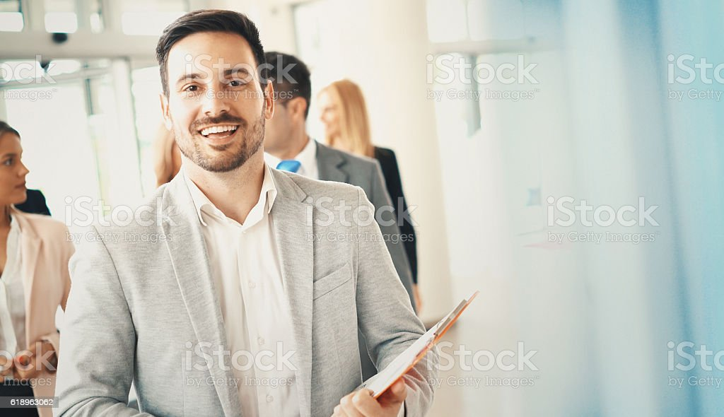 Cheerful businessman. stock photo