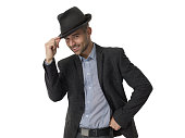 Cheerful businessman wearing hat isolated Portrait