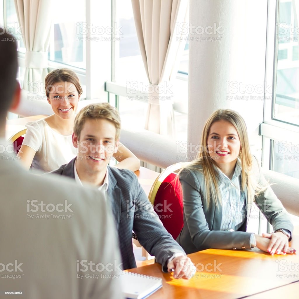 Cheerful businesspeople on a seminar. royalty-free stock photo
