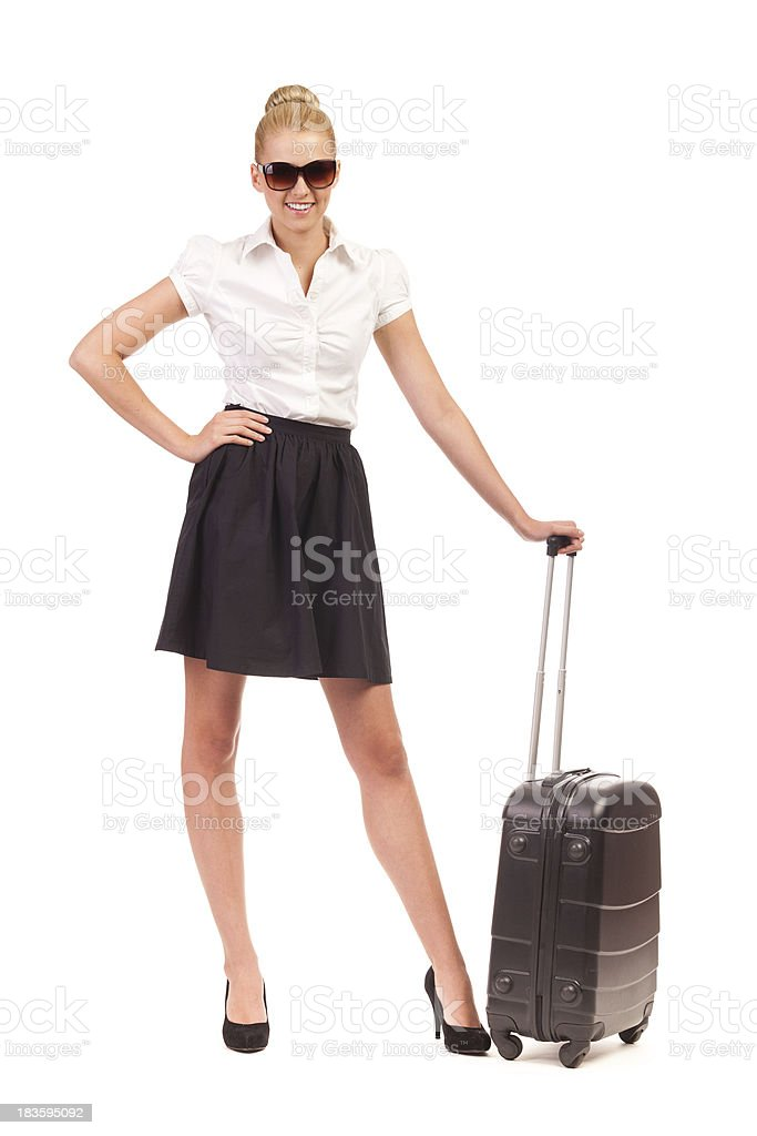 Cheerful Businesswoman with suitcase. royalty-free stock photo